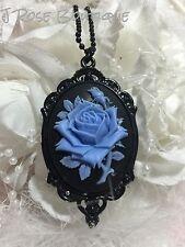 #JRK1 ROCKABILLY Blue Black Rose Goth Necklace Pendant Victorian Steampunk Cameo