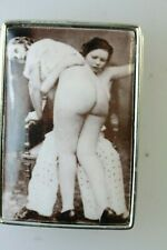 EROTICA NUDE FEMALE WITH VINTAGE ART ENAMEL SILVER PILL BOX /SNUFF