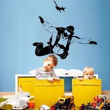 Sky Diving Vinyl Wall Decal Sticker Kids Room Boy Extreme Parachute Plane Decor