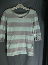 Abercombie & Fitch lime green gray stripped 3/4 sleeve top size XS