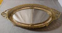 Antique Vanity Mirror Tray Floral Filigree Brass Peacock Decor Velour Mat