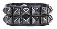 Black Pyramid Stud Leather Snap Bracelet Punk Gothic Glam Rockabilly Emo 70's