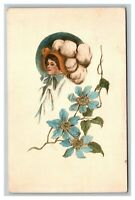 Vintage 1908 Fine Art Postcard Woman in Large Hat Blue Flowers NICE