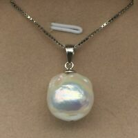 Natural 11x13 White Unusual Keshi Keishi Drip Baroque Pearl Necklace 18""