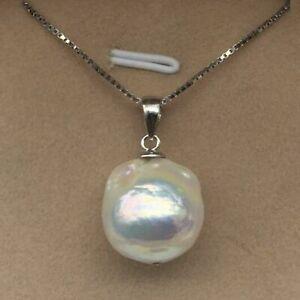 "Natural 11x13 White Unusual Keshi Keishi Drip Baroque Pearl Necklace 18"""