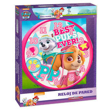 "PAW PATROL SKYE EVEREST CHILDREN CHARACTER 10"" WALL CLOCK KIDS BEDROOM PINK GIRL"