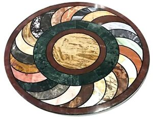 """Antique Design Dining Table Top Round Marble Coffee Table for Living Room 30"""""""