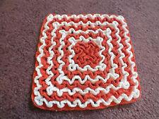 Collectible Handmade Crochet Pot Holder Trivet Red White 6 Inch Ruffled Design