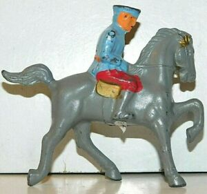 Old BARCLAY 1930s Dimestore Soldier, Officer On Grey Horse In Blue Tunic, B4