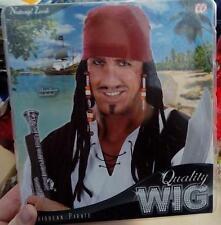 Parrucca Nera Pirata Caraibi Jack Sparrow Dreads Cosplay Traversirsi Carnevale
