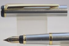 Baoer No. 801 MKI Flighter Brushed Steel Fine Fountain Pen with Gold Plated Trim