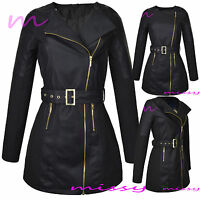 NEW Womens BELTED BIKER JACKET FAUX HALF LEATHER Ladies Long ZIP Coat Size 8-16L
