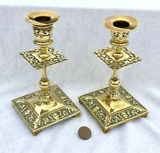 More details for pair of ornate antique victorian brass candlesticks