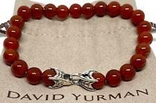 "David Yurman 8MM Carnelian Spiritual Beaded Bracelet 8.5"""