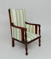 Vintage Green Thistle Stripe Armchair Chair Dollhouse Miniature 1:12