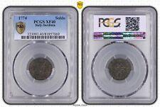 ITALY SARDINIA - SILVER 1 SOLDO COIN 1774 YEAR KM#66 GRADING PCGS XF40