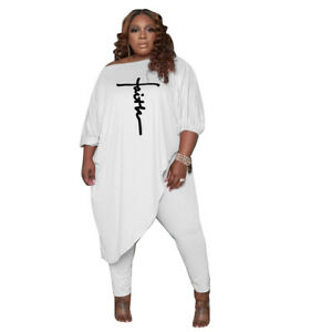 New Women Plus Size 3/4 Sleeves Irregular Patchwork Loose Causal Jumpsuit 2pcs