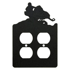 Snowmobile double power outlet plate cover
