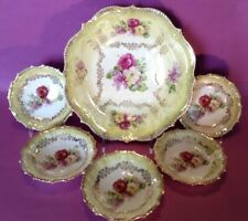 Yellow Luster 6 Piece Berry Or Salad Bowl Set - Roses And Lilacs - Germany