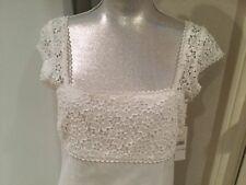 fb17e4cb2d LAUNDRY BY SHELLI SEGAL Women s white linen floral lace cap sleeves dress  NWT 6