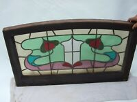 ANTIQUE ART NOUVEAU  ORIGINAL CEDAR  STAINED LEAD-LIGH COLOURFUL WINDOW  C1890's