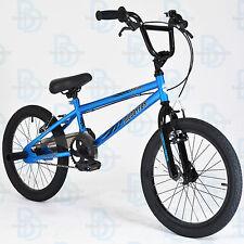"Muddyfox Griffin 18"" BMX Bike - Blue and Black - Boys - New Model - Stunt Pegs"