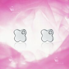 925 silver earrings simulated diamond flower 4  leaves clover stud for kids baby