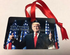 45TH PRESIDENT DONALD TRUMP THIN RED LINE FLAG FIREMEN METAL CHRISTMAS ORNAMENT