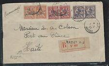 FRENCH MOROCCO  (PP2709B) 1923 10C+15C+25C PAIRS REG  SURCH COVER TO HAITI