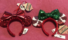 Disney Parks 2 Minnie Mouse Ear Headband Red And Candy cane Christmas Ornaments