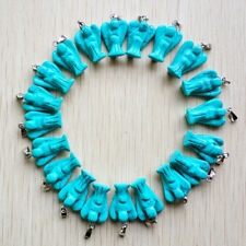 12pcs Blue Turquoise Angel Charms Pendants Carved Christianity Necklace DIY GH1P