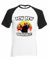 Pew Pew Madafakas Raglan T-Shirt, Funny Joke Cat Retro Vintage Unisex Adults Top