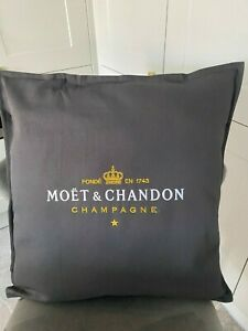 MOET & CHANDON LARGE GREY OR CREAM CUSHION COVER 50CM X 50CM FOR KITCHEN GARDEN