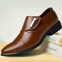 Formal Dress Office Business Men Oxford Pointed Toe Casual Leather Shoes Slip On