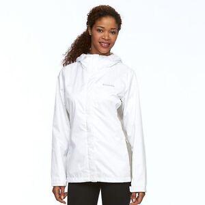 NEW Columbia White Gray Skies Apres Resistant Hood Coat Jacket Womens L 12 $100