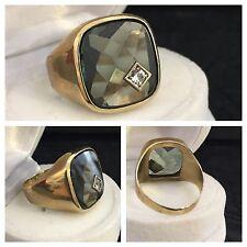 Herrenring mit grünem Spinell 333er Gold Ring Siegelring 8 Karat Gelbgold Gr. 64