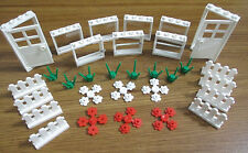 New Lego White Picket Fence, Doors, Windows, Flowers Starter Set Lot of 31PCS