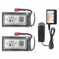 Hosim 2Pcs 7.4V 25C 1600mAh Li-Po Battery Pack+Balance Charger for RC Car 9125
