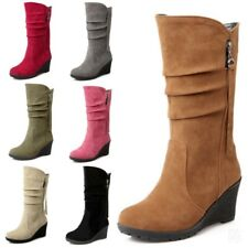 Womens Wedge High Heel Round Toe Mid Calf Boots Slouch Riding Knight Shoes 34-50