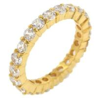 3.9 TCW .925 Yellow Gold Round CZ Stackable Eternity Wedding Band Ring Size 5-10