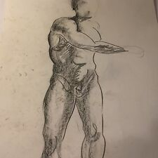 Vtg Male Physique Nude Pencil Sketch Drawing By William Anton Kleiner Gay Int #3