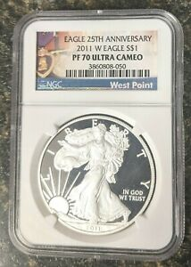 2011-W EAGLE S$1 25TH ANNIVERSARY PF70 ULTRA CAMEO COIN NGC 'TOP POP'