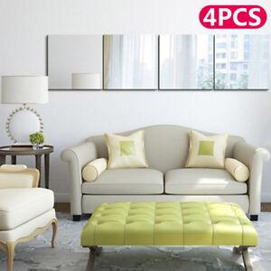 4/8Pcs 30X30cm Mirror Tiles Wall Sticker Square Self Adhesive Stick On DIY Home