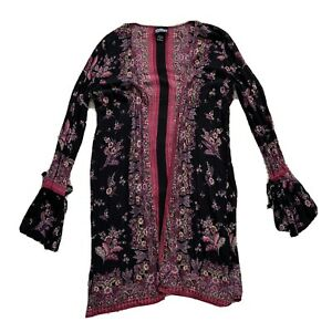 Angie Buckle Womens Size Small Floral Kimono Sweater Long Sleeve Black Pink