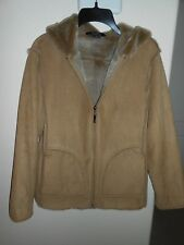 AEROS WOMENS BROWN HOODED FAUX SUEDE LINED JACKET SIZE S SOFT & WARM FREE SHIP!
