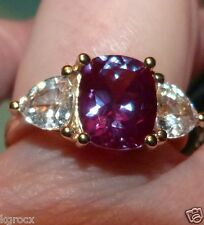 10 KT 6.00 CTW  RARE CUSSION CUT RUSSIAN LAB ALEXANDRITE & ZIRCON   RING SIZE  7