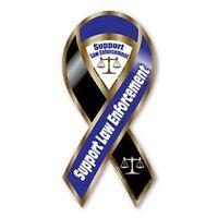Support Law Enforcement Blue / Black 2-in-1 Mini Ribbon Magnet