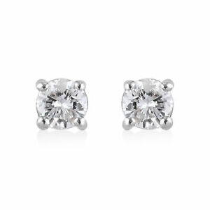 9ct Gold 0.20ct Diamond stud solitaire earrings 9K Gold & Certificate