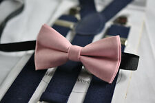 Dusky Dusty Rose  Blush Pink Bow Tie + Navy Blue Suspenders Braces for all ages