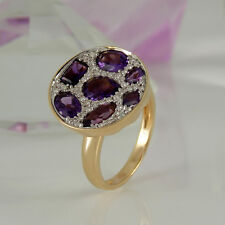 Ring 585/- Roségold 7 Amethyst Edelsteine 2,07 ct + Diamanten 0,22 ct Gr. 57
